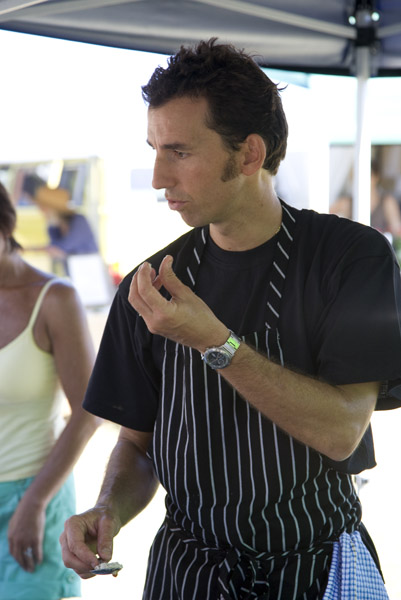 Bruno teaching French cuisine at New Brighton Farmers' Market